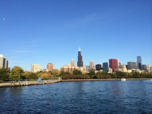 Lake Michigan and Willis Tower in the background