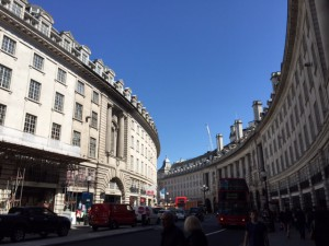 Such neat architecture on Regent Street and beautiful blue sky